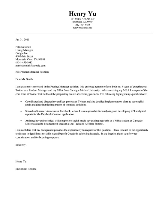 sample mba cover letter mba cover letter example 24653