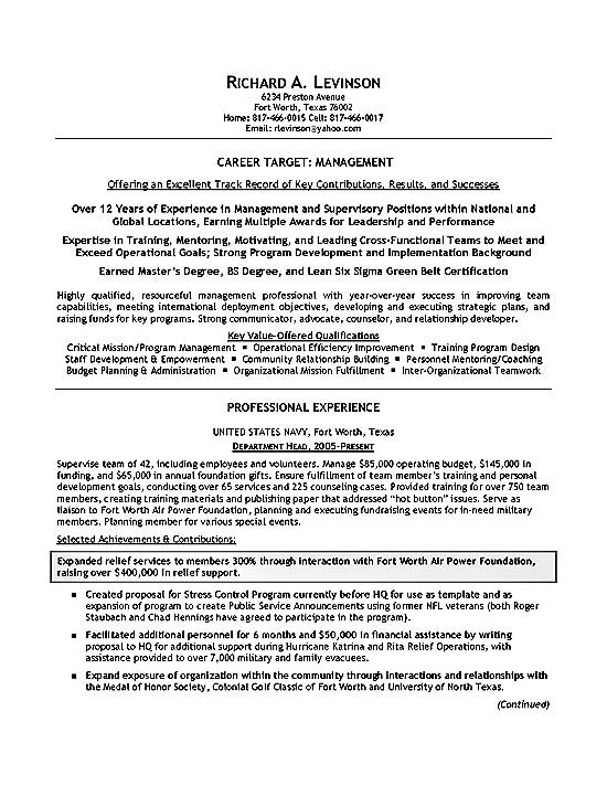 Example Resume Example Resume Tar Job Title #0: resume example military2a