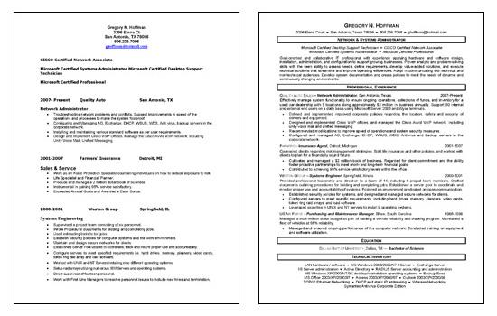 resume network administrator Pertamini