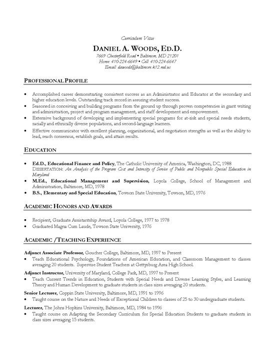 Academic Cv Example Teacher Professor