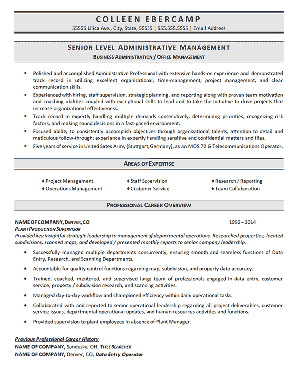 business adminisration resume
