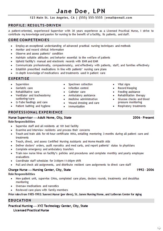 Nurse LPN Resume Example Sample