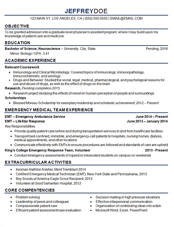 medical student resume example