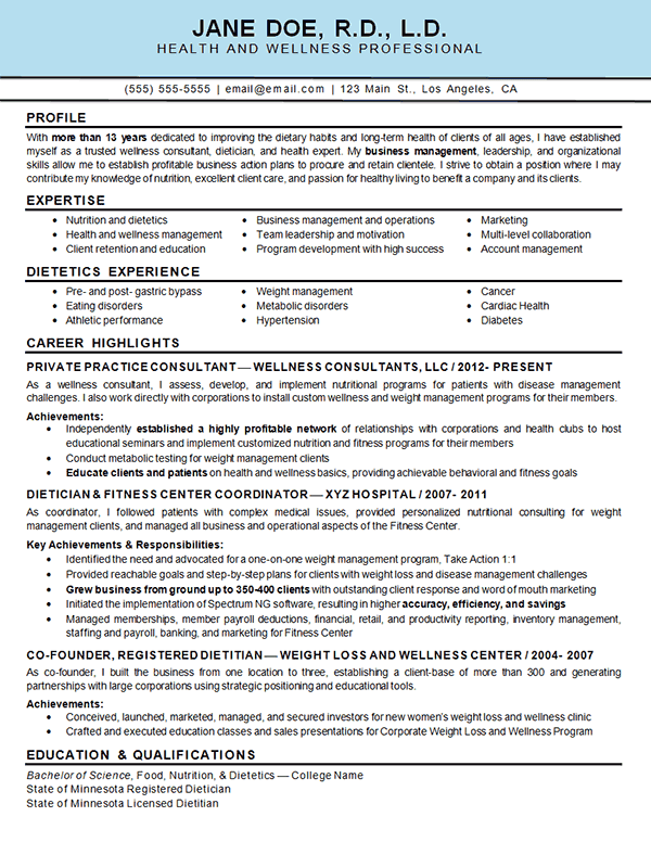 health wellness resume