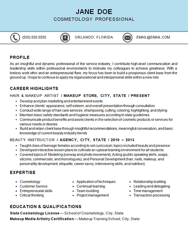 Cosmetology Resume Example - Hair & Makeup