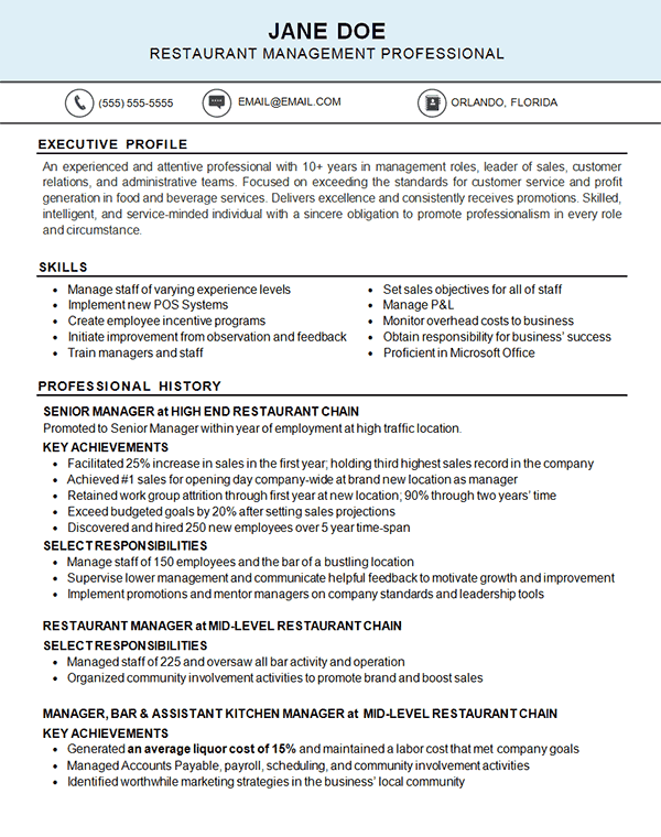 restaurant resume example - kitchen