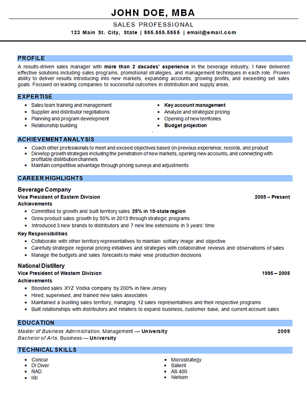 outside sales resume example
