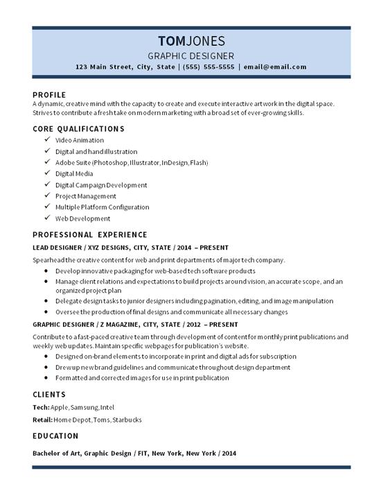 Lead Graphic Designer Resume Example