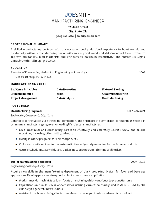 manufacturing engineer resume example