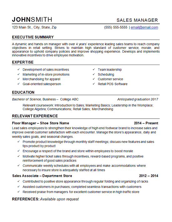 Retail Manager Resume Example Template
