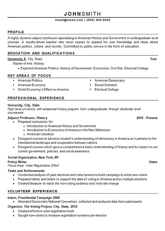 Adjunct Professor Resume Example History