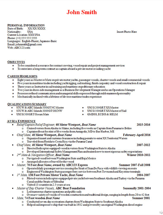 Boat Captain Resume Example Boating Engineer Manager Mate