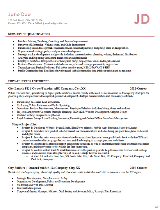 Entrepreneur Resume Example Business