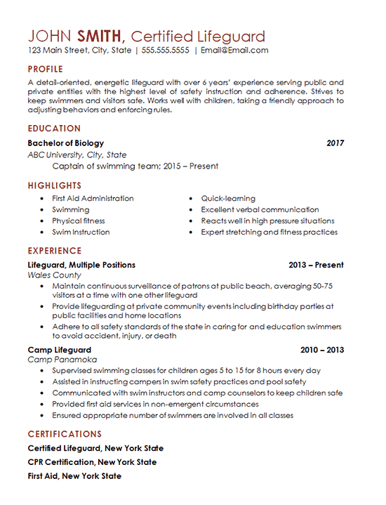 Certified Lifeguard Resume Example Freelance Professional
