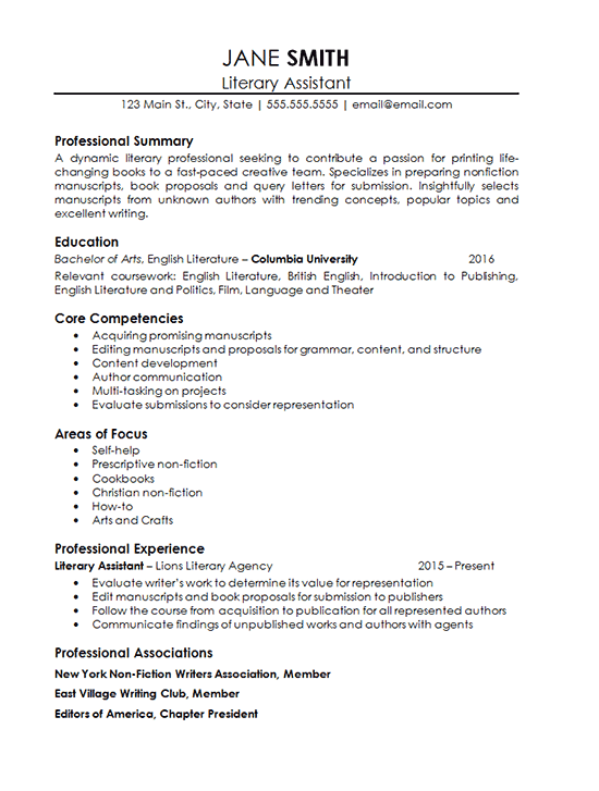 Assistant literary agent resume example for How to write a cover letter for a literary agent