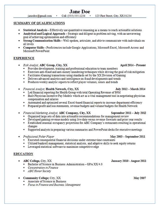 risk analyst resume example