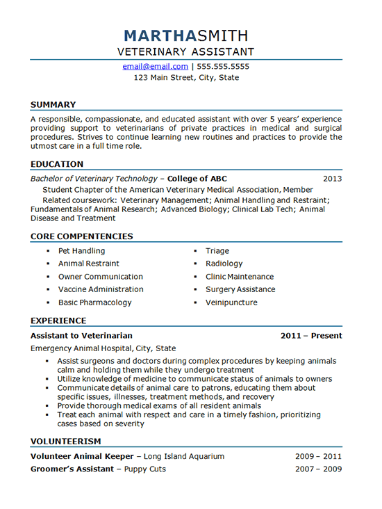 veterinary assistant resume example animal hospital