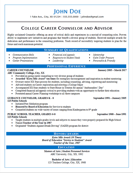 career counselor resume example