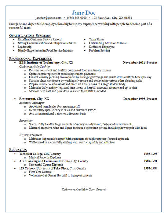 restaurant server resume example - bartender