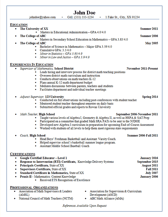 School Administrator Resume Example