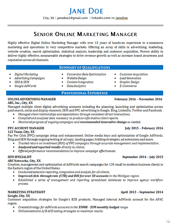 Online Marketing Resume Example