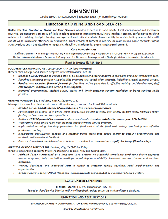 view food service resume example