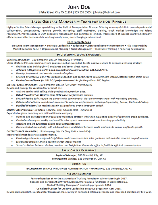 Transportation Resume Example