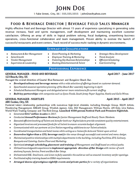 food beverage manager resume example - restaurant  u0026 bar