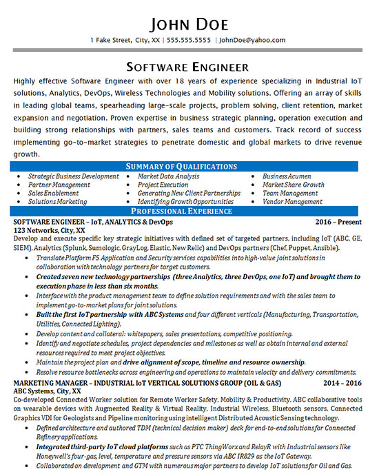 industrial software engineering resume