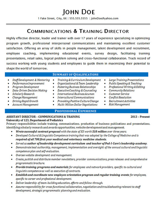 communications resume sample training