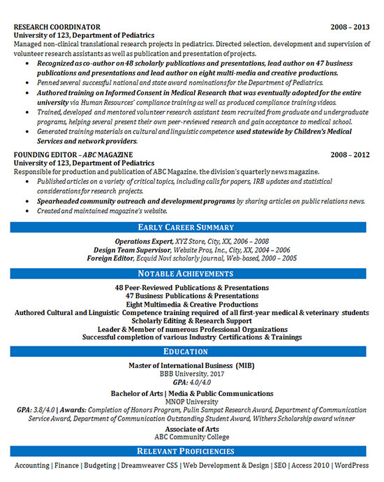 Communications Resume Example Training Director