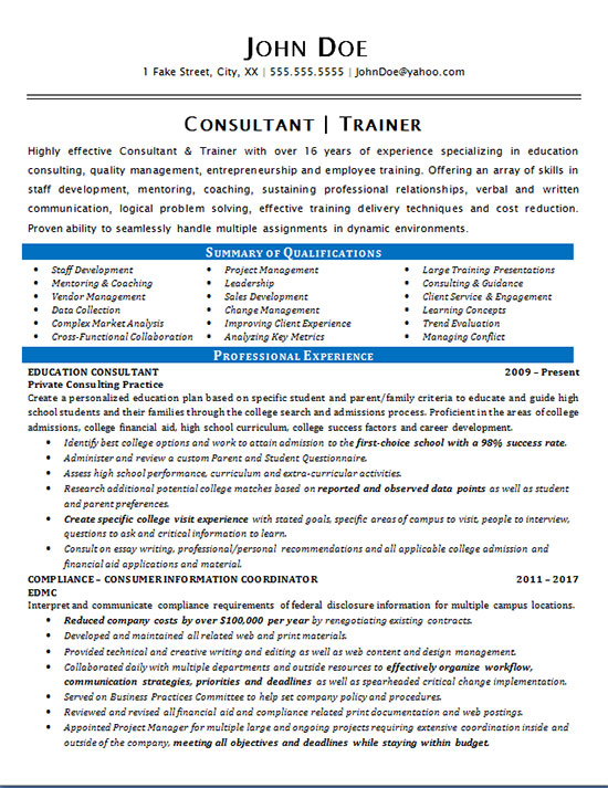 Consultant Trainer Resume Example Education Amp Staff