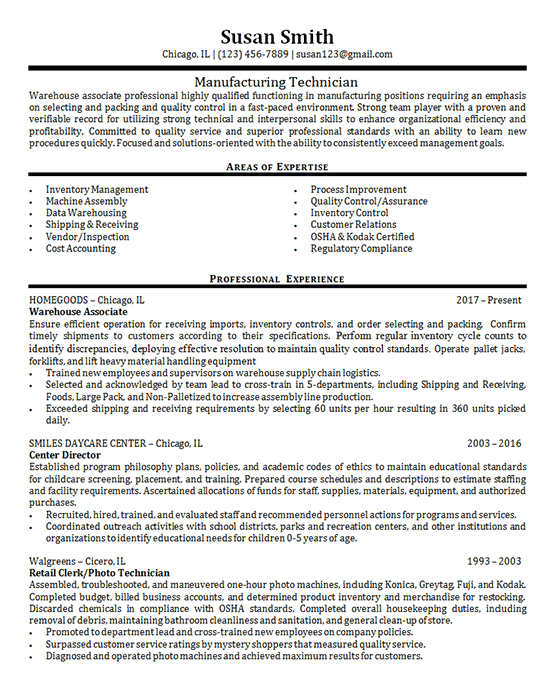 Manufacturing Technician Resume Example