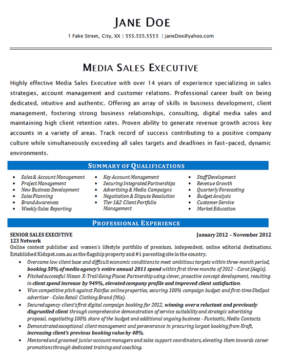 Media Sales Resume Example -