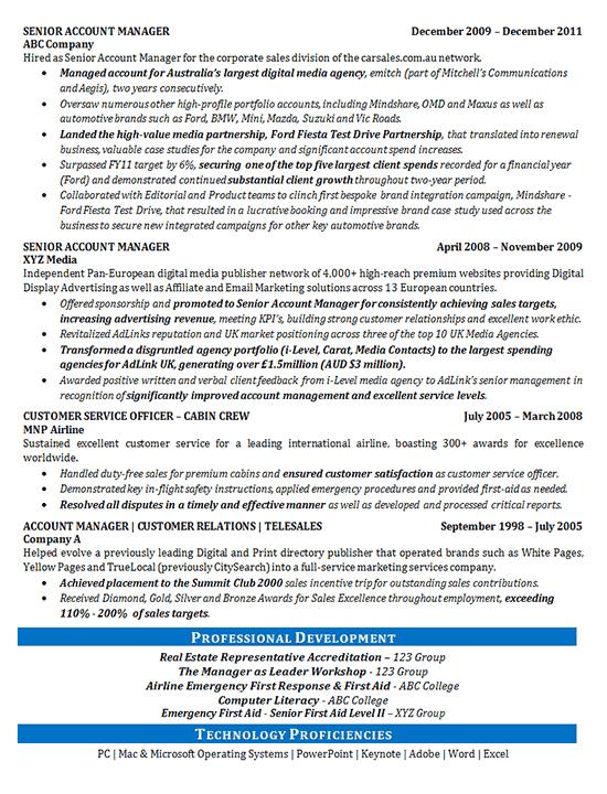 Media Sales Resume