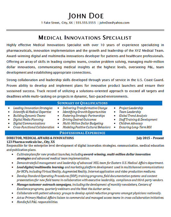 Medical Specialist Resume Example