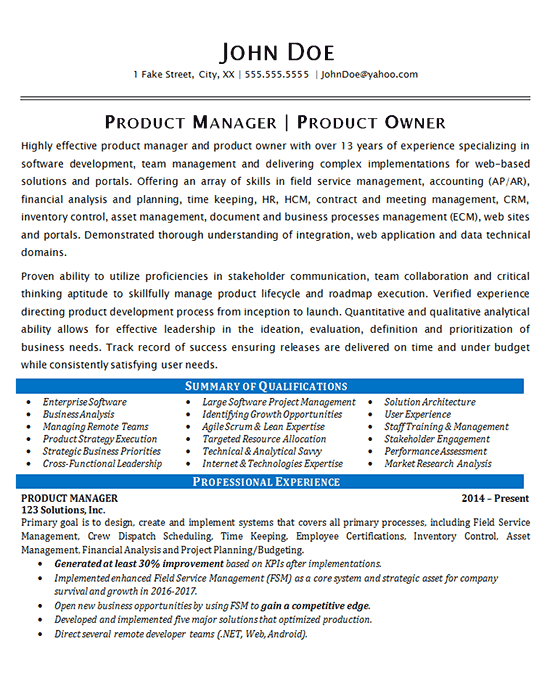 Production Manager Example Product Onwer