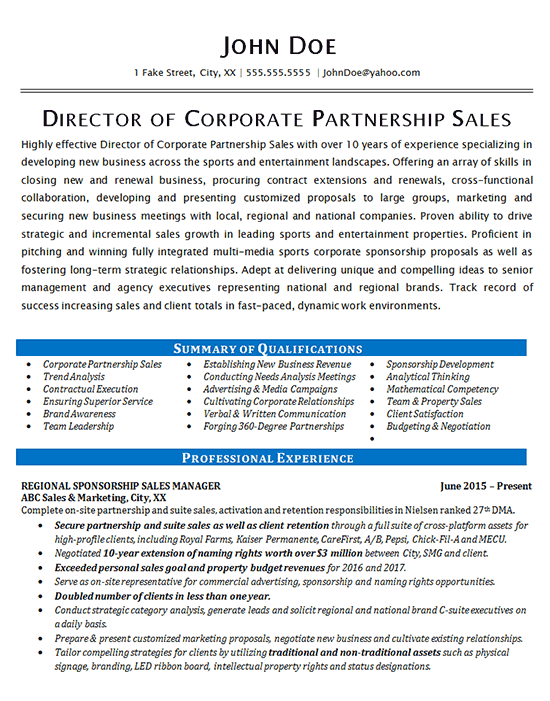 Corporate Sales Resume Example Partnership Development