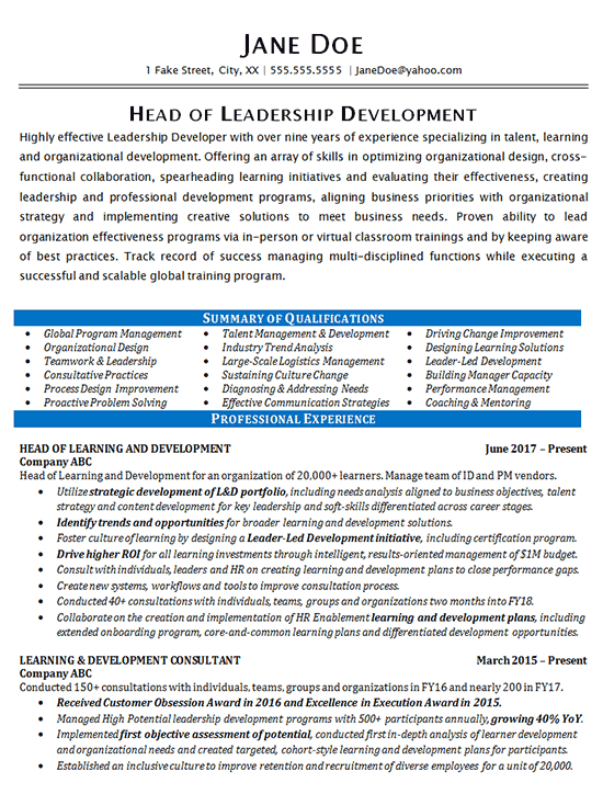 Leadership Development Resume Example Consultant
