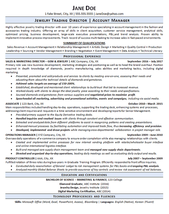 Jewelry Trading Jeweler Resume Example