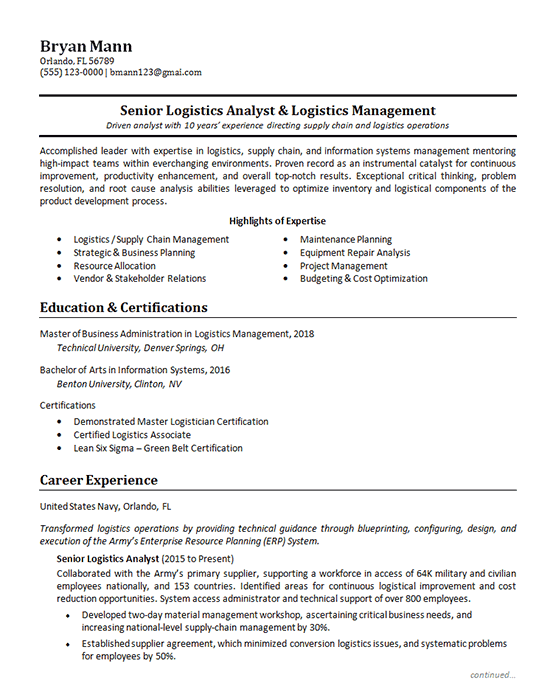 logistics analyst resume example