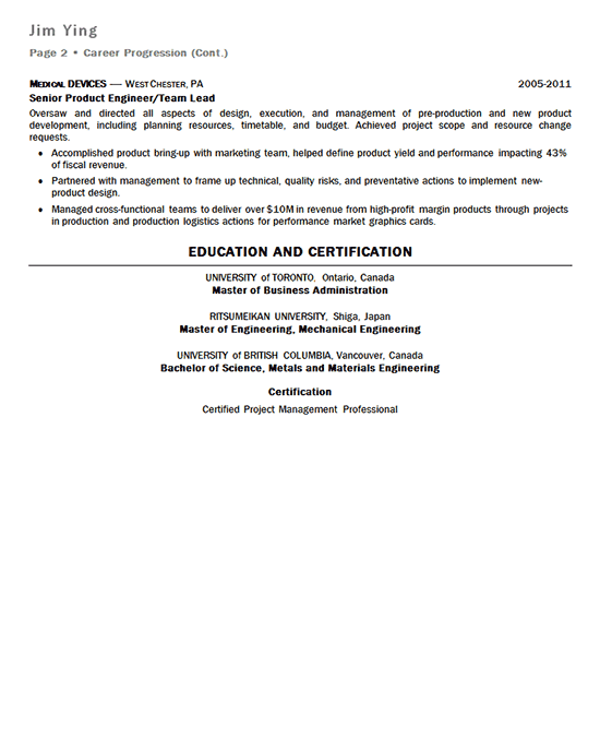 New Product Manager Resume Example