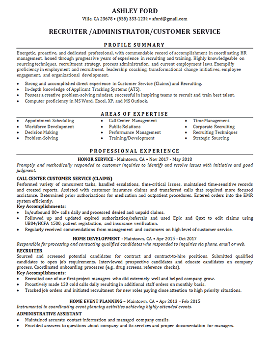 Recruiter Resume Example - Job Administrator