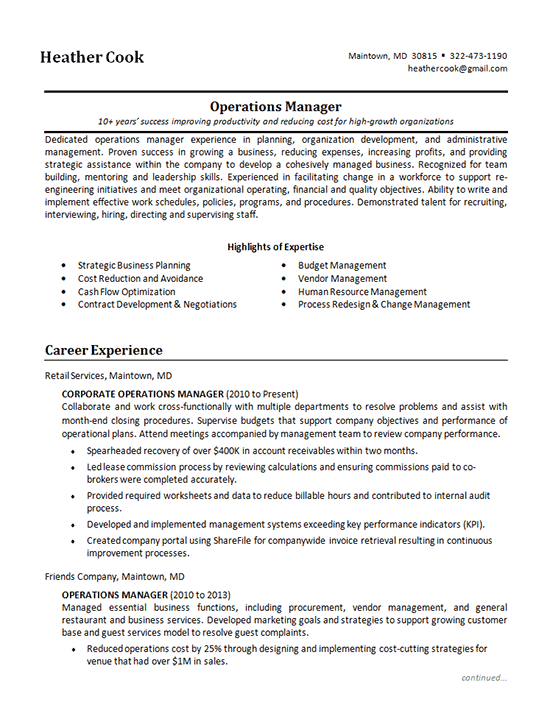 Corporate Resume Example
