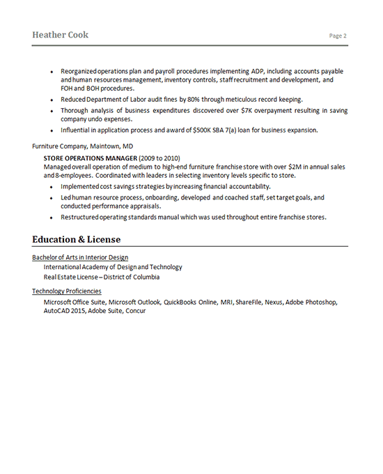 Corporate Operations Resume Example