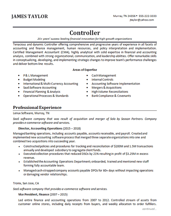 Accounting Manager Resume Example - Controller