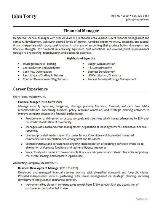 finance manager resume example - financial