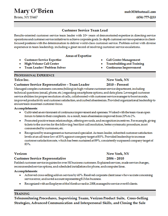Customer Service Skills Resume - Team Lead