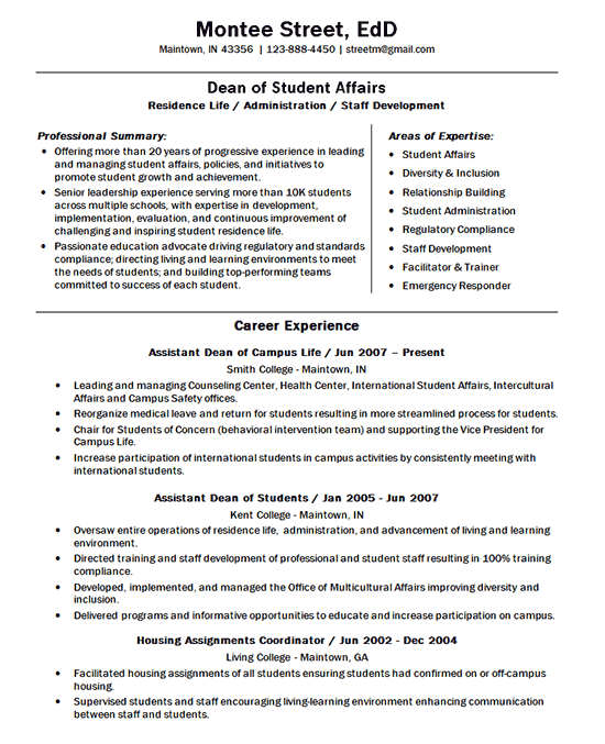 University Dean Resume Example Doctor Of Education
