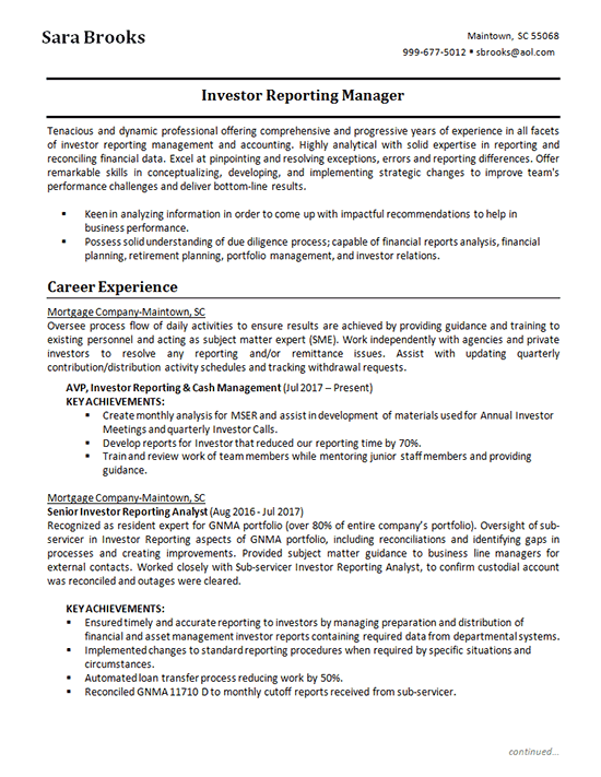 investment analyst resume example